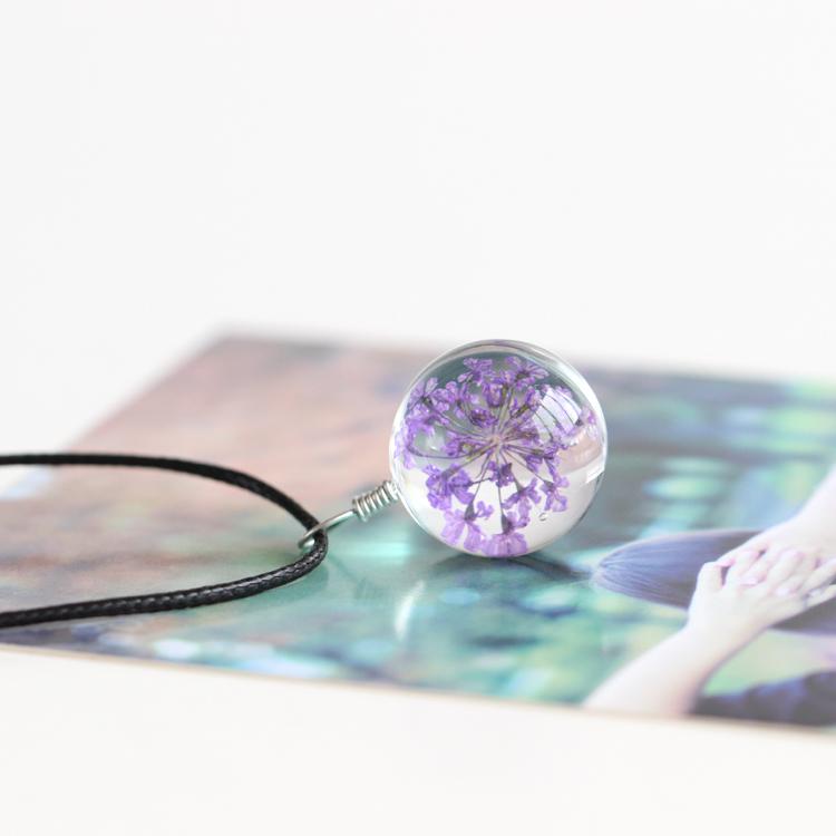 【勿忘我】日韩手工制作玻璃干花森系小清新项链项坠时尚饰品431