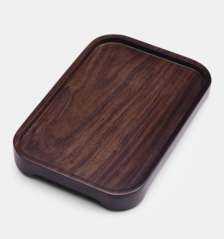 养生逸品黑檀木整块实木小茶盘长方形简约茶托家用茶具干泡盘托盘