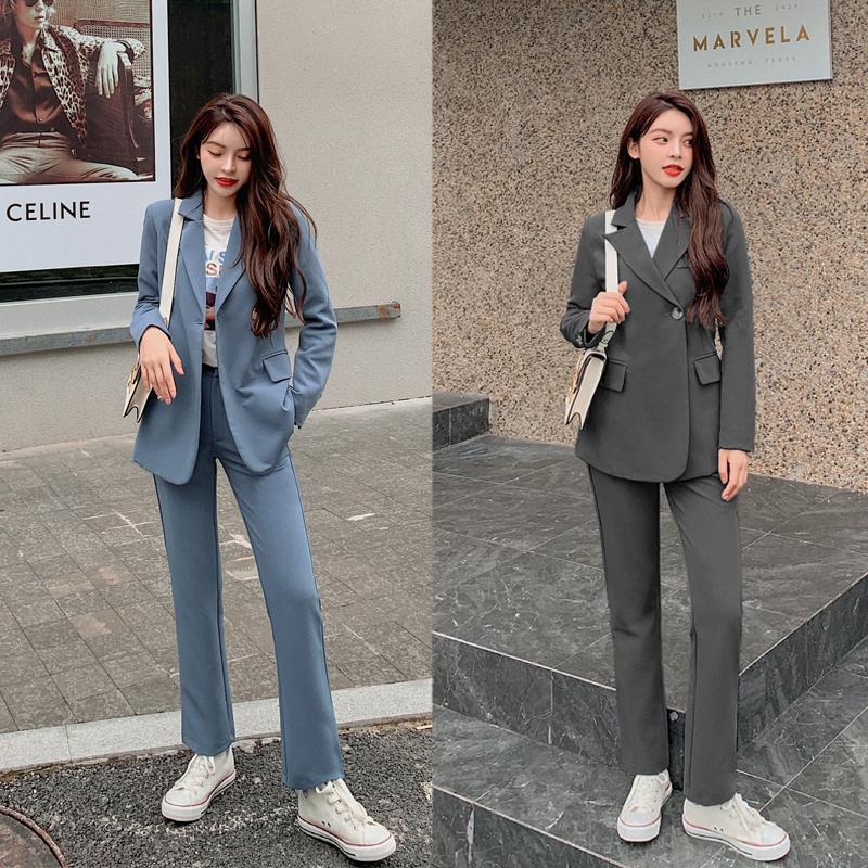 实拍现货967#2020秋季新款垂感休闲韩版气质炸街西服时尚套装 -