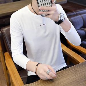 男士长袖T恤棉质打底衫纯色圆领潮流上衣服白色韩版修身黑色薄款