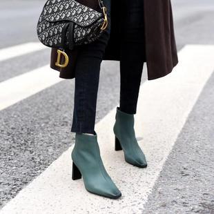 实体店同款女鞋法式小短靴女潮气质粗跟高跟软皮瘦瘦靴工作骑士靴