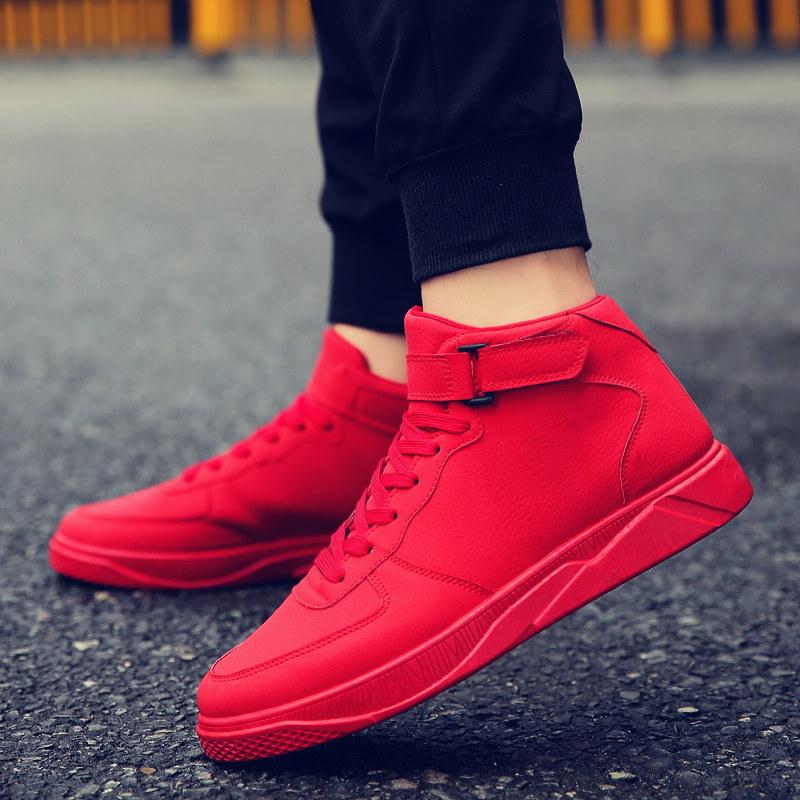 2017冬季新款男士韩版休闲鞋时尚潮流红色板鞋高帮男鞋保暖棉鞋子