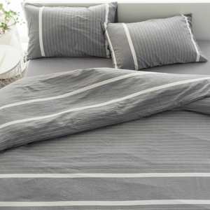 Cotton Cotton Bedding Kit Washed Cotton Three / Four-piece Set ins Nordic Striped Sheets Quilt Cover Bedding