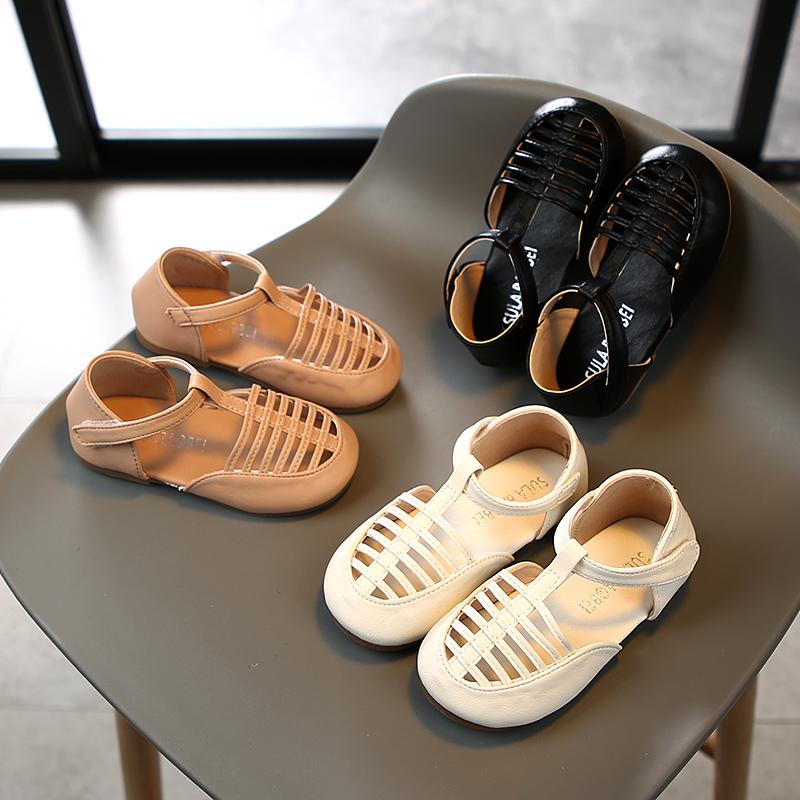 2020夏新款包头时尚凉鞋女童皮鞋公主鞋镂空透气宝宝鞋儿童沙难鞋
