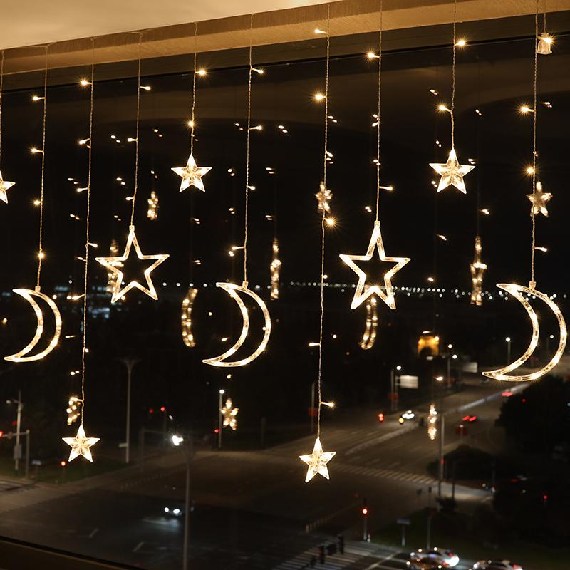 月亮星星灯房间装饰led彩灯闪灯串灯满天星窗帘灯网红灯卧室布置