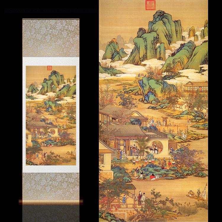 古典壁画定制酒店装饰十二月令客厅卷轴挂画郎世宁国画古风卷轴画