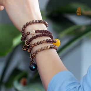 原创设计越南沉香木金丝檀手串如意菩提子佛珠古朴毛衣链转运手链图片