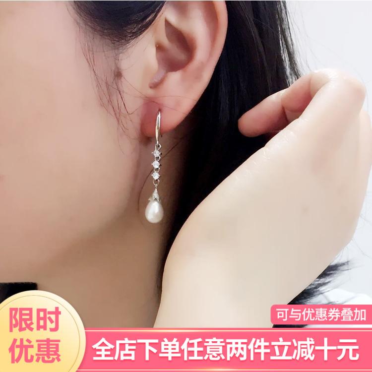 真珍珠水滴925纯银挂钩耳坠高级感法式优雅日韩简约成熟耳环礼物