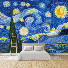 星空梵高油画大型自粘壁画贴纸2f11纸墙贴kk室电视背景墙