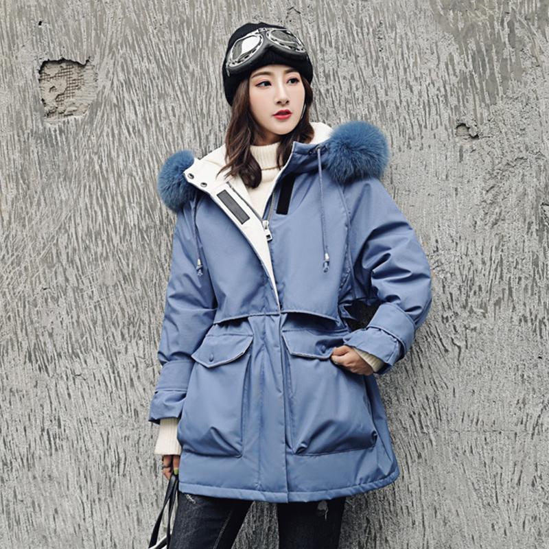 反季羽绒服女中长款2019新款爆款韩国工装时尚百搭大毛领加厚外套