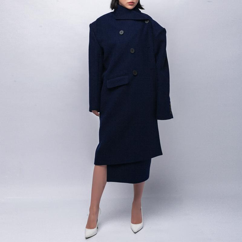 秀场款摩登不对称羊毛呢料外套女 长袖宽松中长