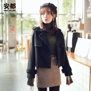 外套女冬短款名媛小香风薄呢子矮个子新款韩毛呢大衣修身复古ins