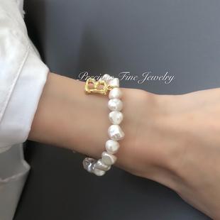 属于你自己的手链 字母手链 现货 天然巴洛克异形珍珠手链14K包金图片