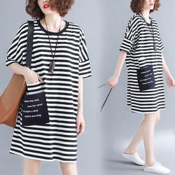 短袖t恤裙女2020新款夏季韩版大码宽松200斤条纹显瘦中长款连衣裙