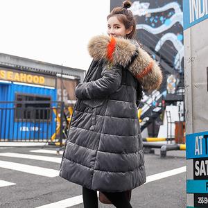 2018冬季欧美新款女式棉衣女中长款时尚修身棉袄羽绒棉服棉袄46