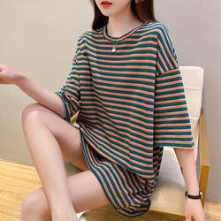 中长款t恤女短袖ins潮夏季2020新款韩版宽松条纹纯棉港味chic上衣