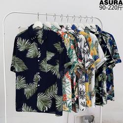 植物满印花短袖衬衫男加肥加大码潮胖寸衣薄款宽松夏季装沙滩旅游