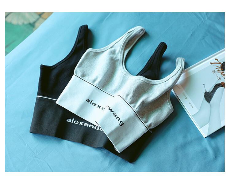 AW大王针织字母运动背心内搭美背吊带20新款套装泫雅短上衣心