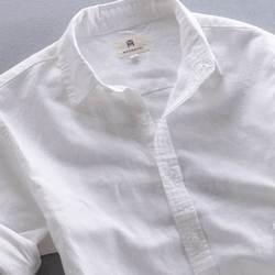 色休闲亚麻衬衫男长袖夏季薄款修身大码纯色棉麻透气短袖火热畅销