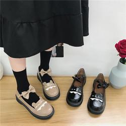 网红鞋子女2019新款韩版时尚可爱学院风平跟厚底英伦学生小皮鞋潮