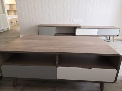 开尚北欧简约伸缩电视柜茶几组合现代客厅地柜小户型家具组合套装