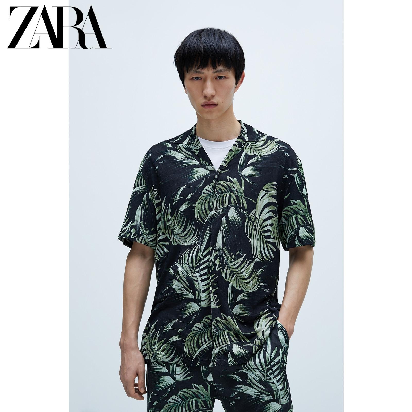 【ZARA 新款 男装 印花古巴领短袖夏威夷衬衫 06264