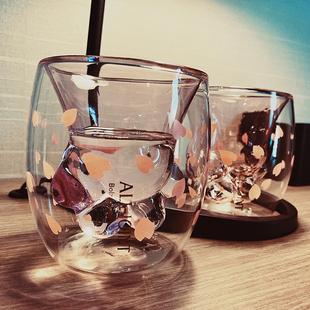 猫爪卡通创意潮流玻璃杯子可爱网红水杯女情侣咖啡牛奶杯家用透明