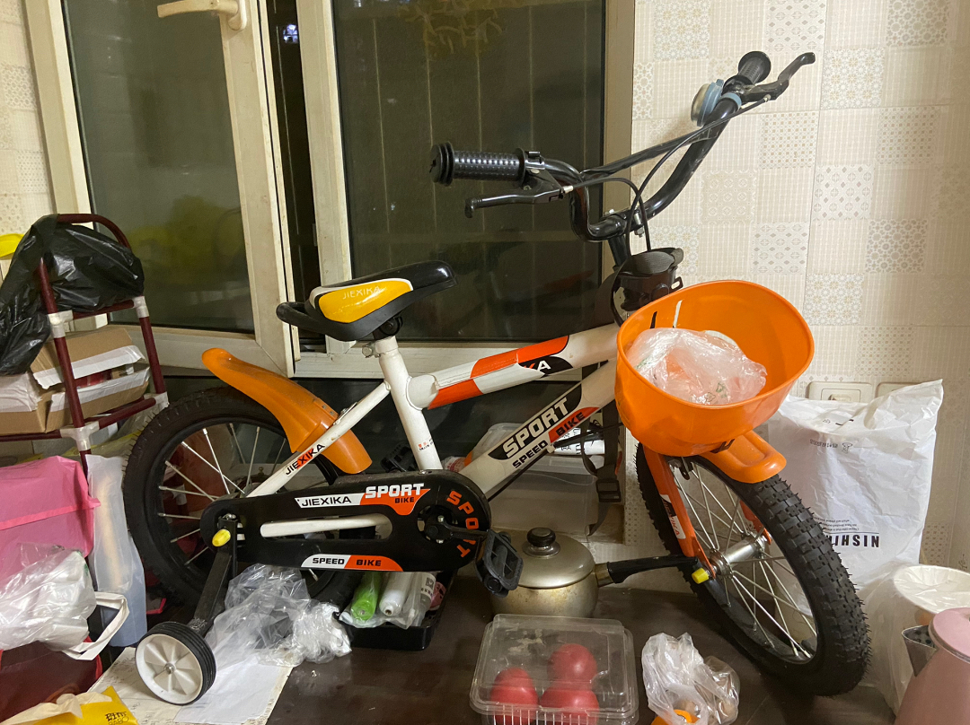 儿童自行车,全新的,但在家放置了一年,未避免争议算九新,有点