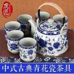 虎匠景德镇陶瓷茶壶大号青花瓷提梁壶过滤家用泡茶套装凉水壶茶具