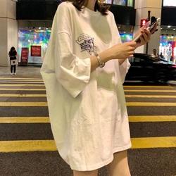 中长款t恤女短袖学生宽松韩版ulzzang半袖下衣失踪女装2019新款潮