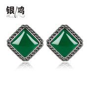 Hong 925 Silver jewelry set of Tremella fuciformis Berk natural green agate square ear clip the Korean version of retro girl Thai Silver Earring