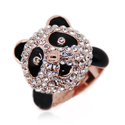 Mu-Mu-jewelry imitate diamond rose gold plated female Panda ring rings giving your girl a gift of luxury Japanese and Korean Jewelry Accessories