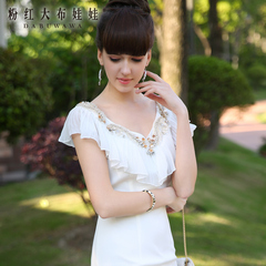 2015 spring dress big pink dolls new spring summer dresses ruffled v-neck short sleeve white dress