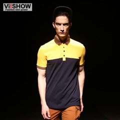Viishow men's short summer dresses men's POLO shirts British court contrast color stitching slim short sleeve polo shirt