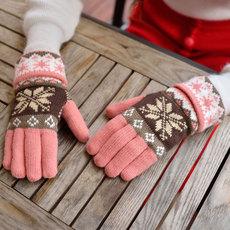韩版潮可爱雪花分指毛线手套秋冬季双层加厚针织保暖五指女士手套