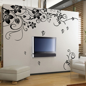 Free shipping stretch flower rattan wall stickers wall stickers removable living room warm bedroom TV background wall glass decals