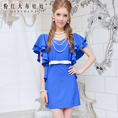 Summer pink dress doll summer 2015 a pendulum new Royal-Blue Lotus sleeve chiffon dress