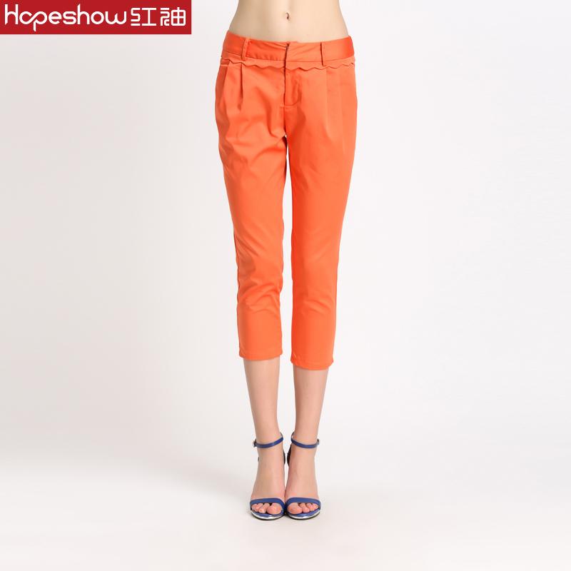 【99元2件】红袖专柜正品 修身时尚褶皱小脚七分裤H7262832A