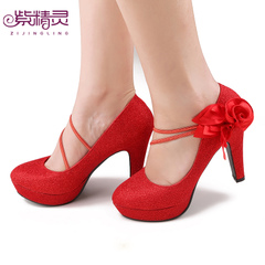 Violet fairy flowers wedding shoes bride wedding shoes high heel platform red shoes X14012-