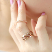 Mail original jewelry pierced women rose gold roses simple ring clean index finger ring
