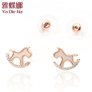 Ya na cute cute Korean stud earring swaying female horse Stud Earrings jewelry jewelry hu30