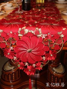 Coffee table table flag tablecloth European table cloth high-end rural European luxury embroidered red simple modern