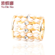 Ya-na Pearl simple silk scarf tube accessories Joker towel ring rhinestone square ring s-9