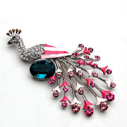Email Peacock rhinestone brooch women smiling happy upscale brooch pin clasp Korea jewelry 357409