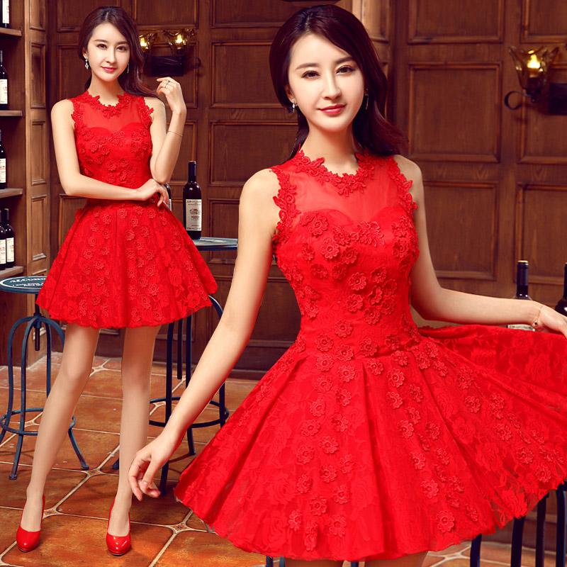Платья короткие вечерние красные