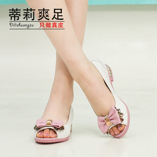 2015 leather flat-bottom fish casual sandal with bow drill Tilly cool foot