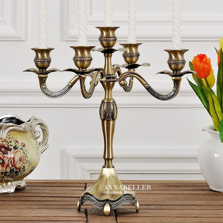 新古典美欧式烛台复古摆件创意浪漫餐桌五头蜡烛台金属铜色装饰品