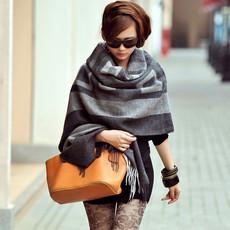 欧美N.LIFE新款正品空调房女士格子羊毛披肩围巾两用超大加厚秋冬