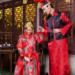 中国风中式纯棉印花新娘新郎结婚礼服敬酒影视演出服秀禾演出服装图片