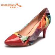 Red Dragonfly spliced genuine leather women's shoes new fashion patent leather contrast color light graffiti high heel shoes